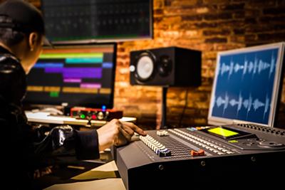 recording studio, computer, speakers, mixer